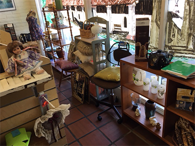 Furniture and display cases at VTC Thrift store