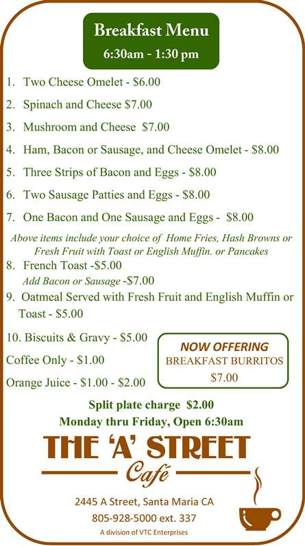 Breakfast menu for items served six thirty a.m. to one thirty p.m.