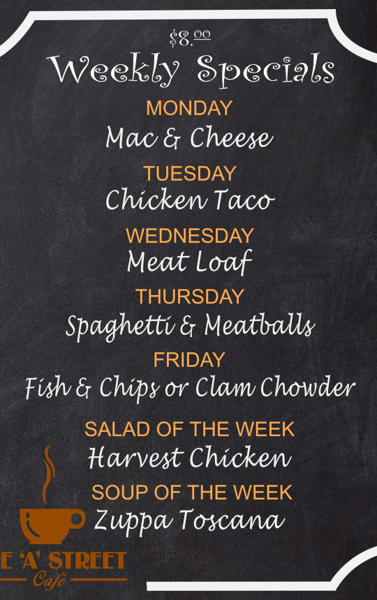Weekly Specials Menu offering a variety of entrees